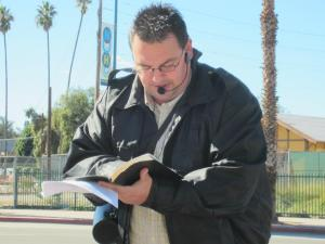 Rick Preaching at NOHO Metro Station